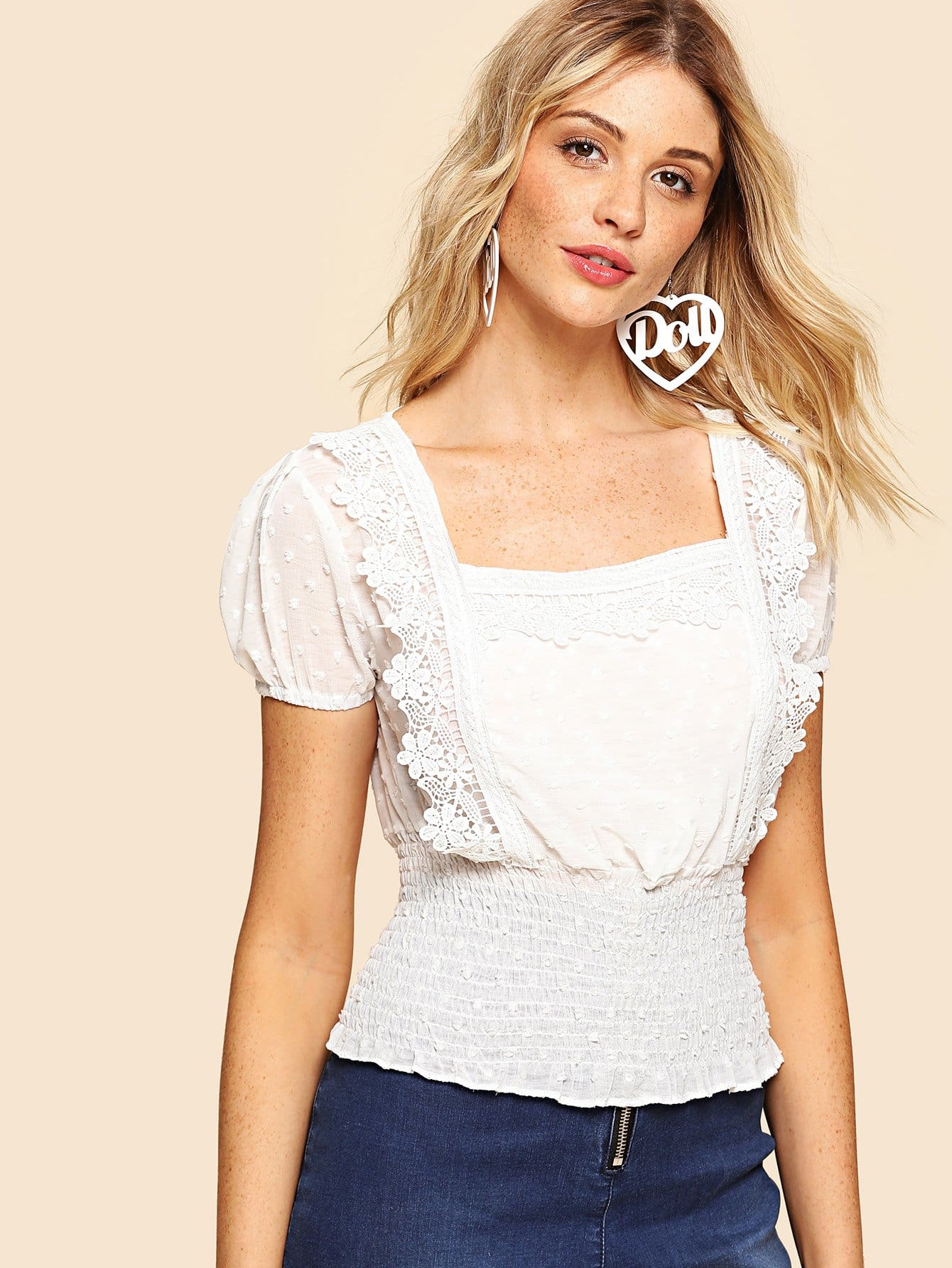 Lace Panel Pleated Top lace panel yoke top