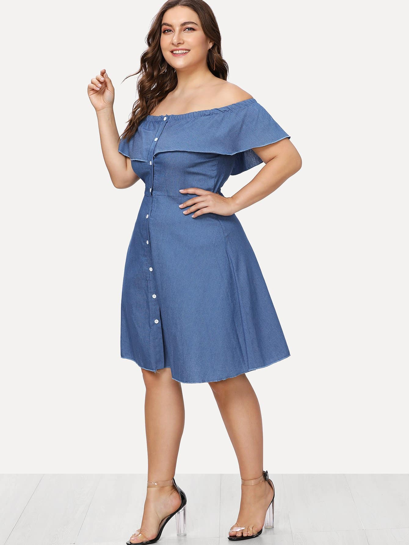 Plus Off Shoulder Single Breasted Front Ruffle Dress