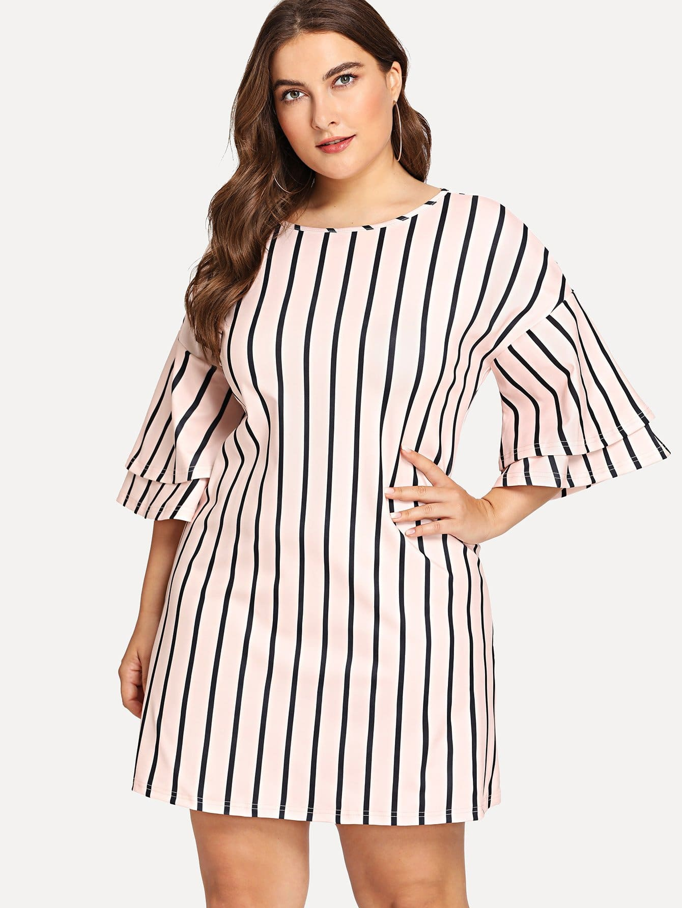Plus Layered Sleeve Striped Dress летняя шина michelin pilot primacy 205 60 r16 96w xl mfs g1