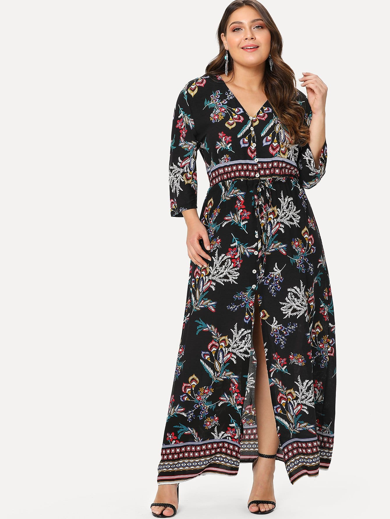 Plus Floral Print Single Breasted Split Hem Dress