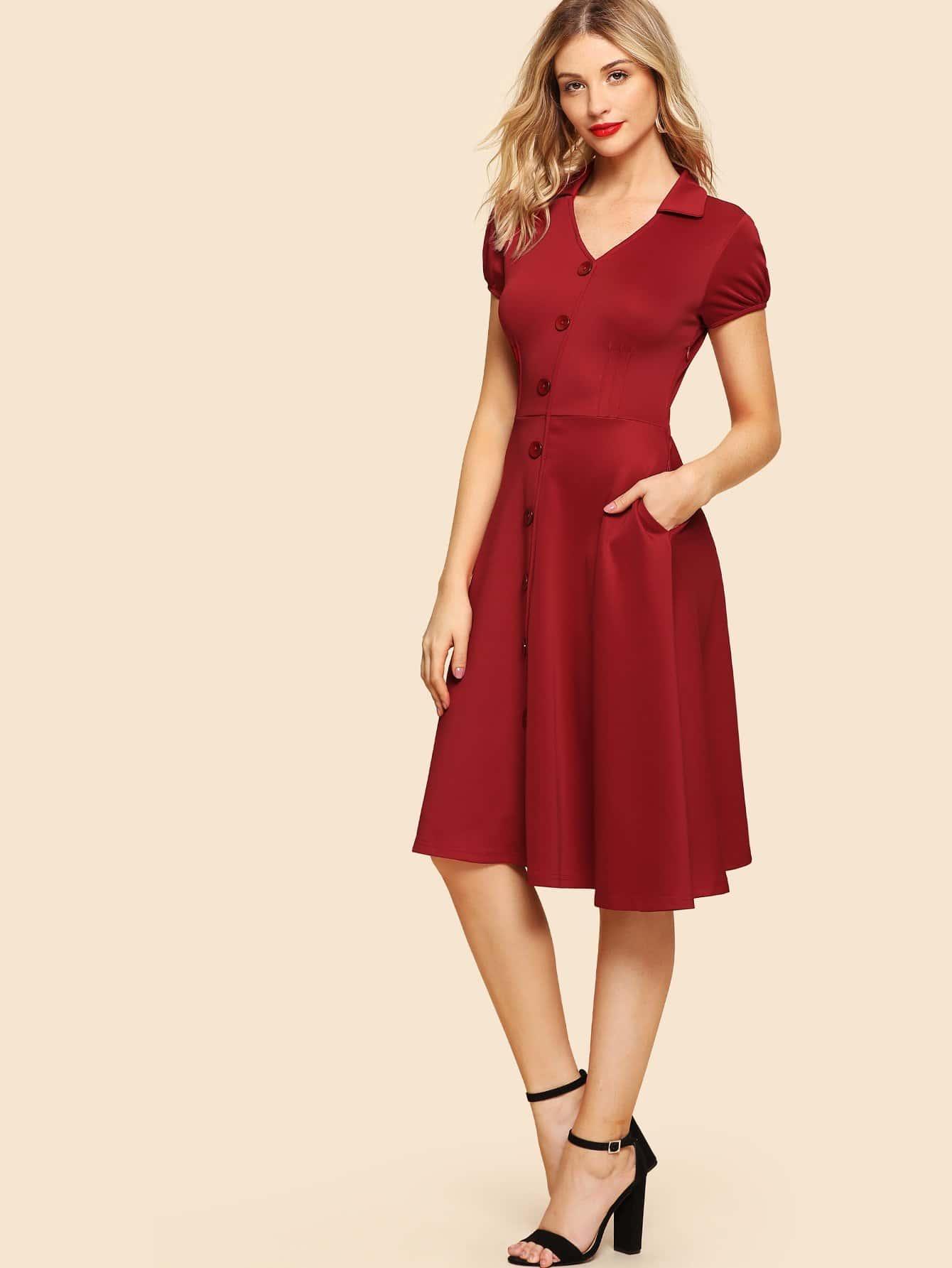 Single Breasted Front Solid Dress все цены