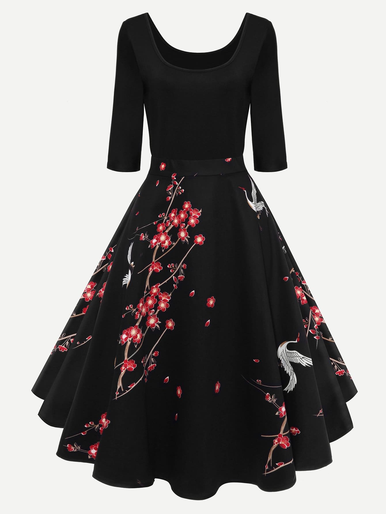 Plum Blossom Print Dress шредер fellowes p 35c fs 3213601