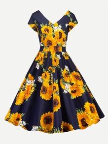 Sunflower Print V Neckline Dress