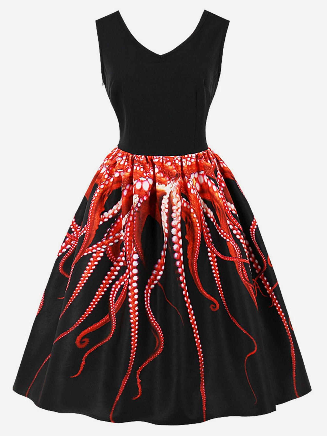 Купить Платье с v-образным воротником и принтом осьминог, null, SheIn
