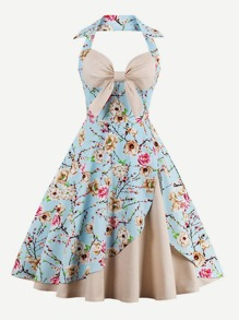Floral Print Bow Halter Dress
