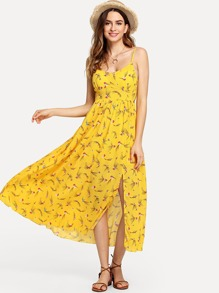 Floral Print Split Hem Knot Cami Dress