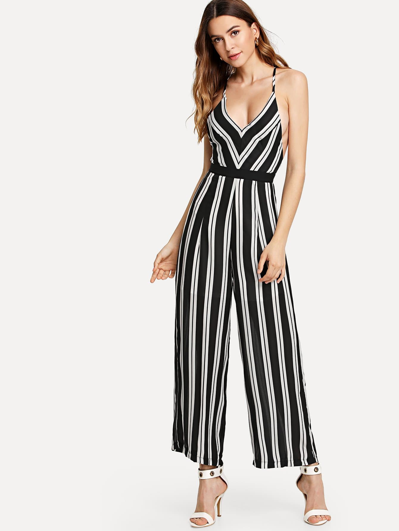 Backless Criss Cross Back Striped Cami Romper stylish cami striped backless dress