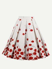Cherry Print Circular Skirt