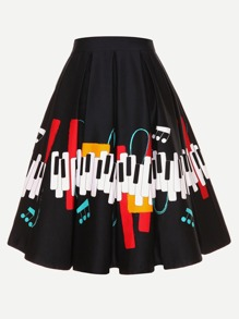 Music Note Print Circle Skirt