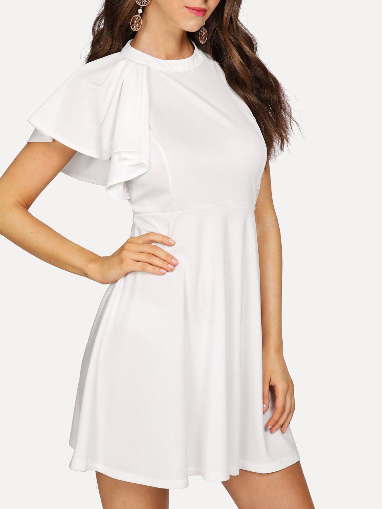 One Side Flounce Shoulder Halter Dress dark coffee side pockets one shoulder mini dress