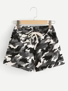 Camo Print Drawstring Cuffed Shorts