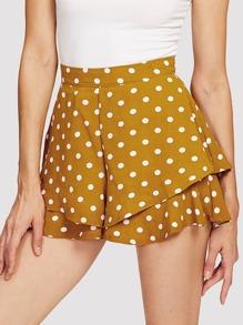 Polka Dot Tiered Hem Shorts
