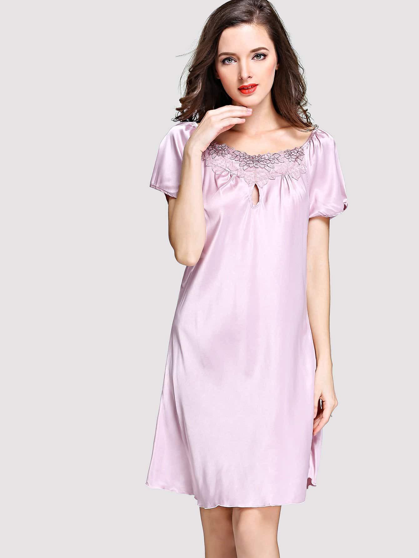 Купить Ночное платье с кружевами цветы и вырезами, null, SheIn
