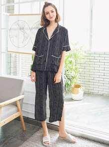 Striped Shirt & Split Side Pants PJ Set