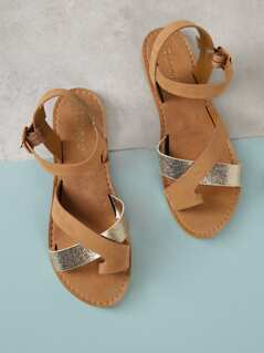Metallic Asymmetrical Band Sandal
