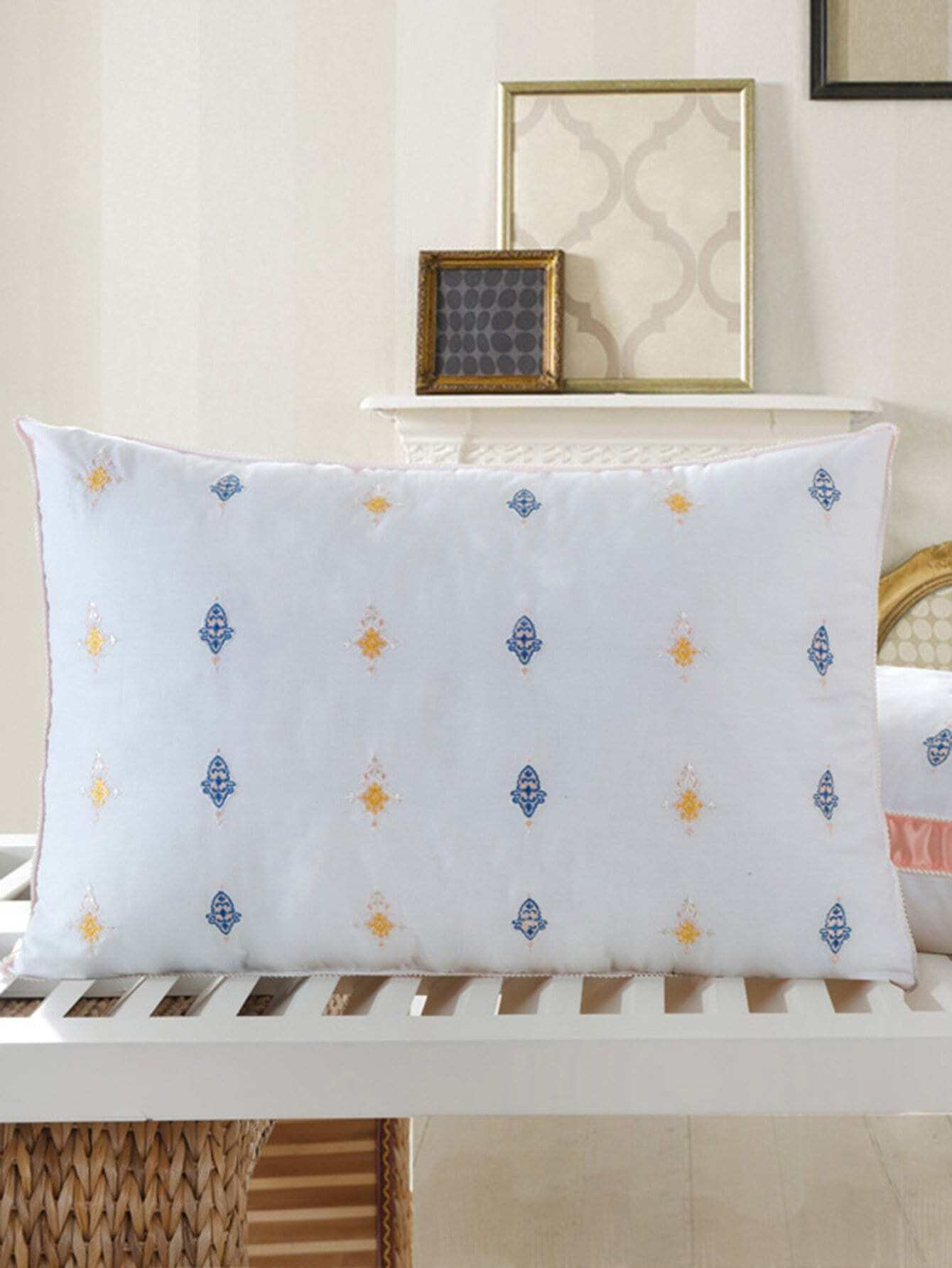 Flower Embroidery Pillow 1Pc sailboat print pillow 1pc