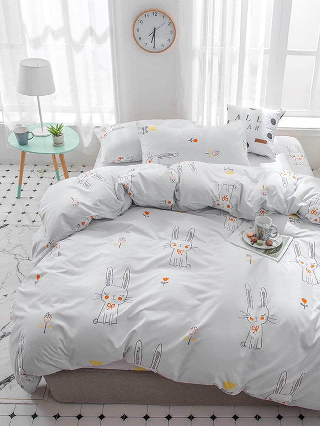 Cartoon Rabbit & Flower Print Sheet Set rabbit print pullover