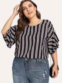 Plus Contrast Stripe Tiered Sleeve Blouse