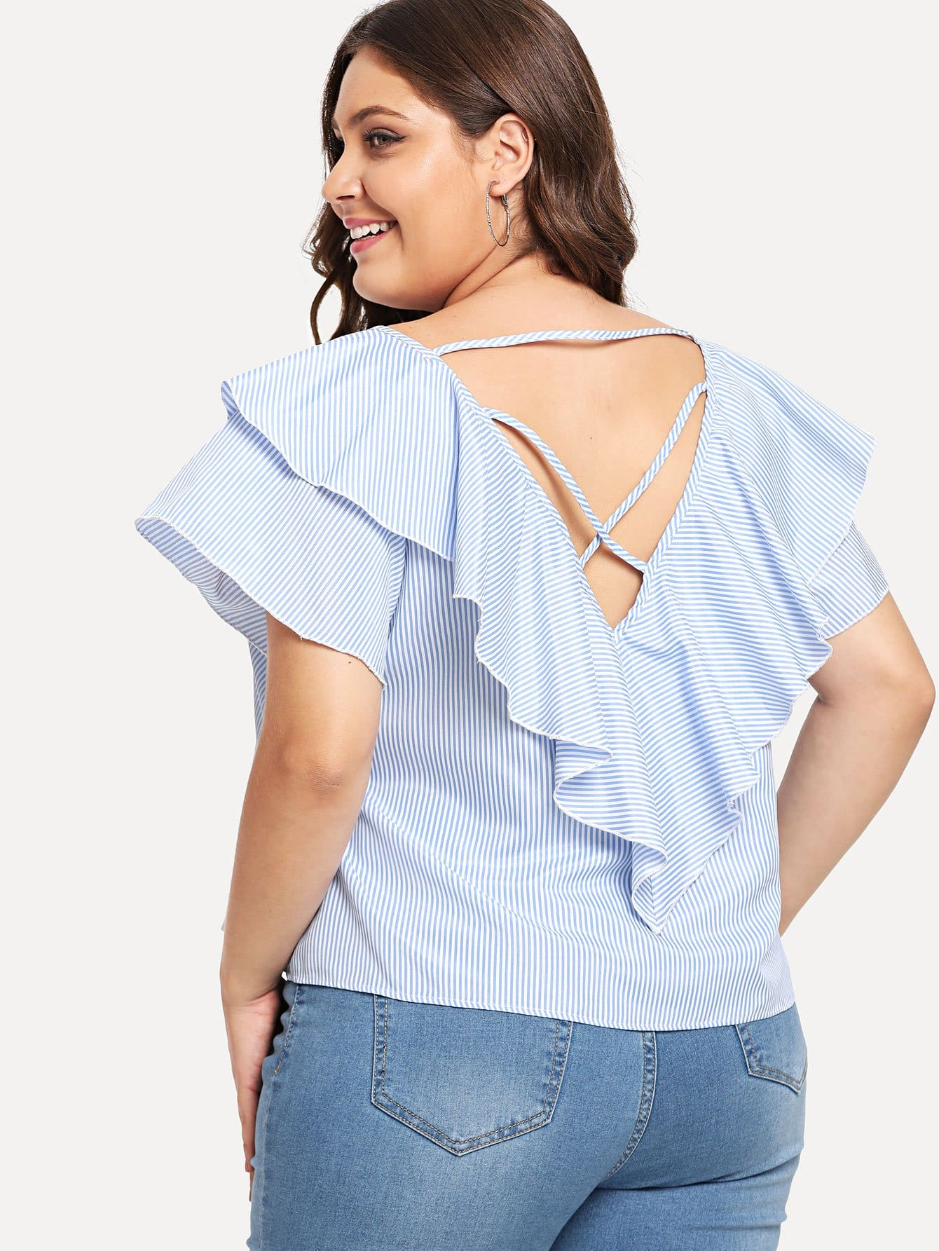 Plus Criss Cross Back Striped Top