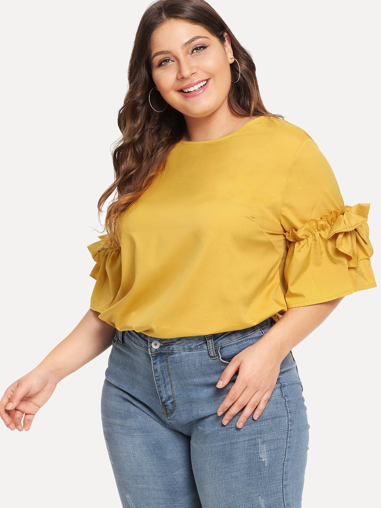 Fluted Sleeve Frill Trim Top eyelet long sleeve frill trim top