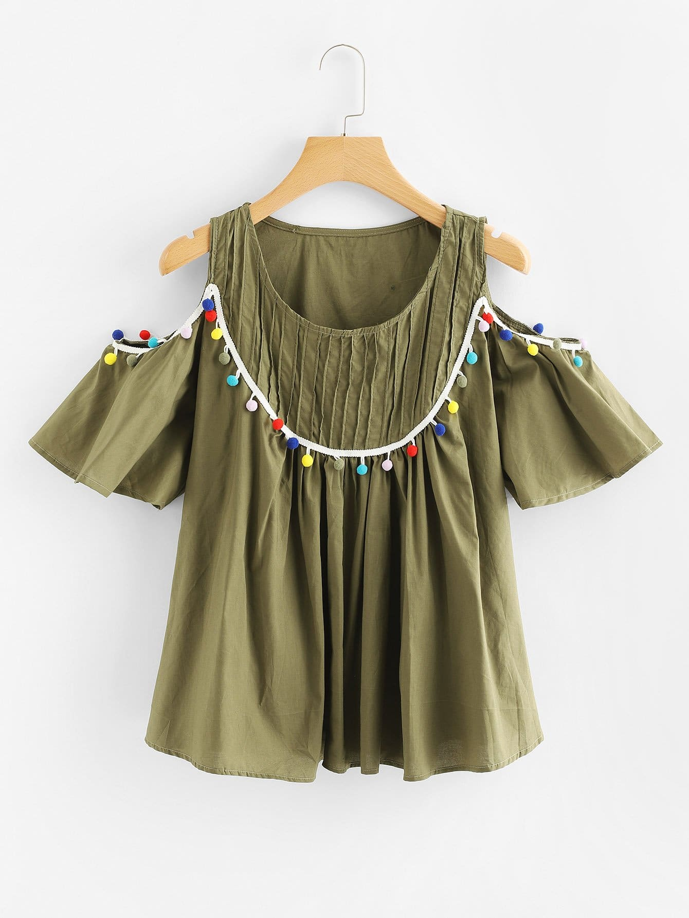 Open Shoulder Pom-pom Trim Top open shoulder pom pom trim top