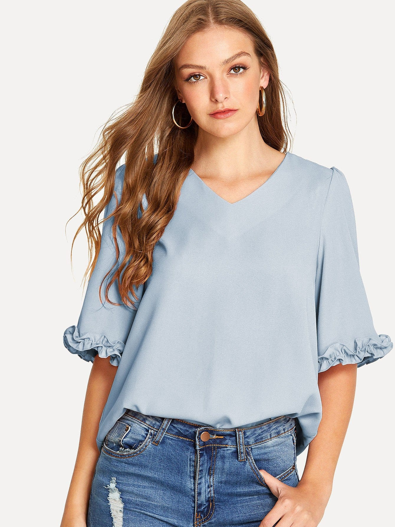 Midi Sleeves With Frill Trim Blouse frill trim blouse with denim skirt
