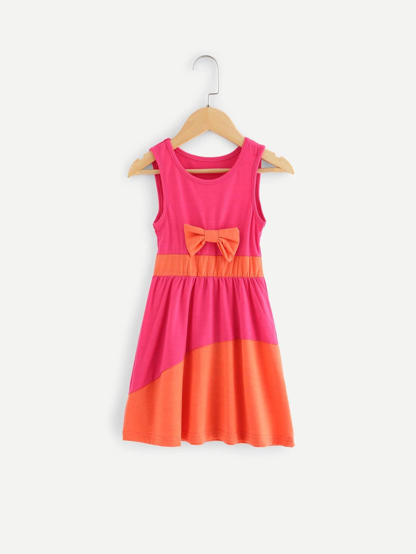 Kids Bow Detail Colorblock Dress kids bow detail 2 in 1 dress