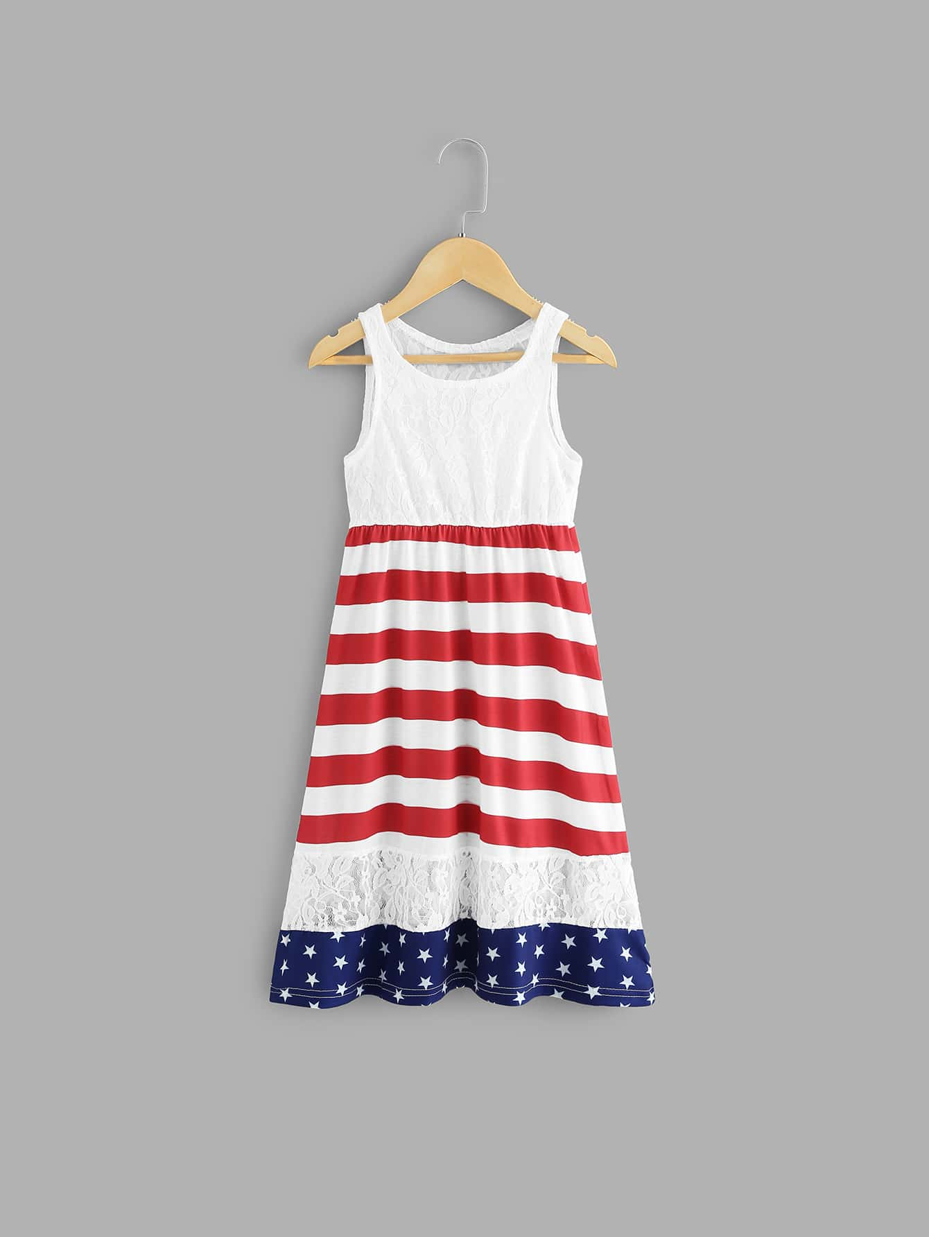 Girls Contrast Lace Striped Star Print Dress kids contrast striped star print pants