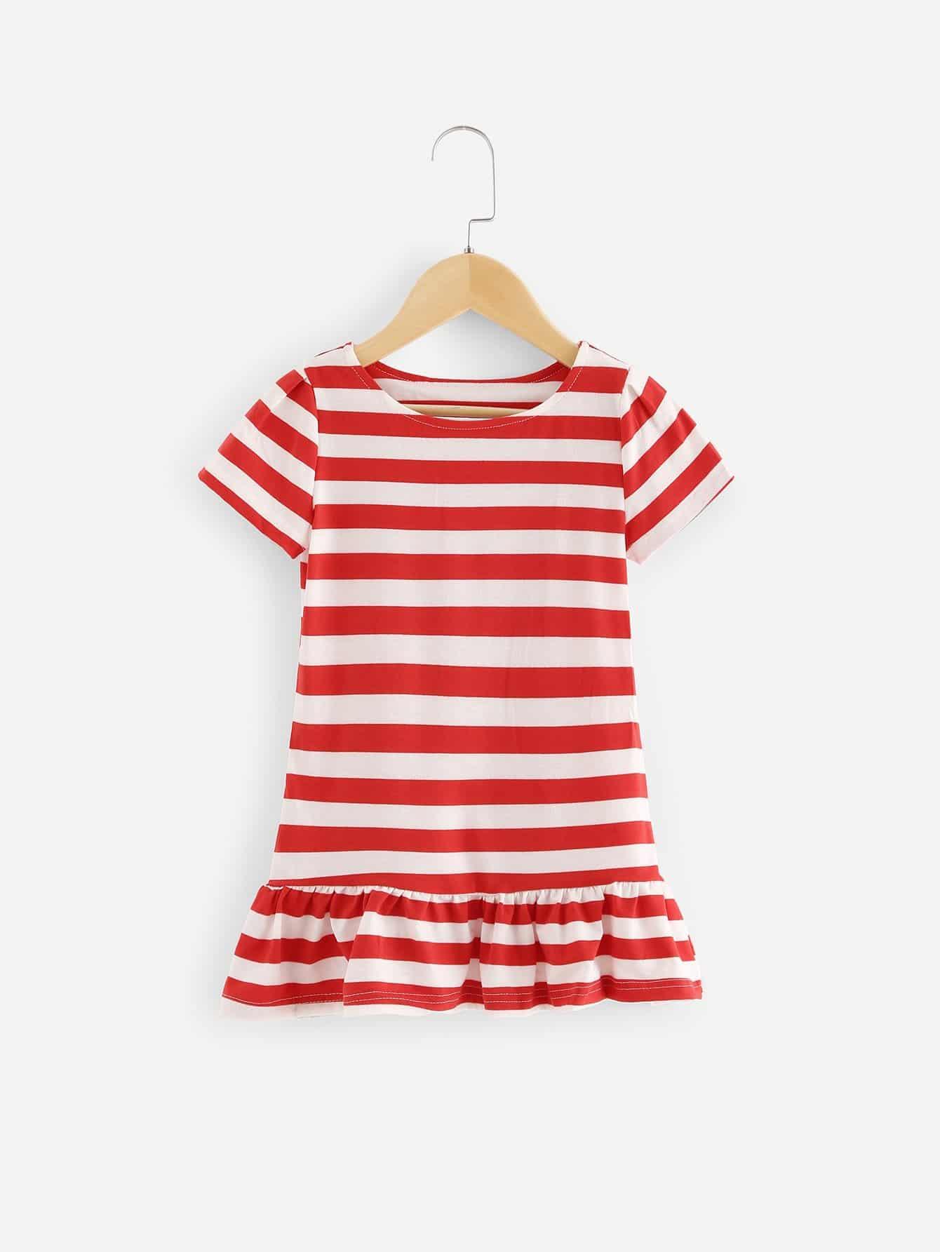 Girls Striped Ruffle Hem Dress striped sleeve ruffle dip hem dress