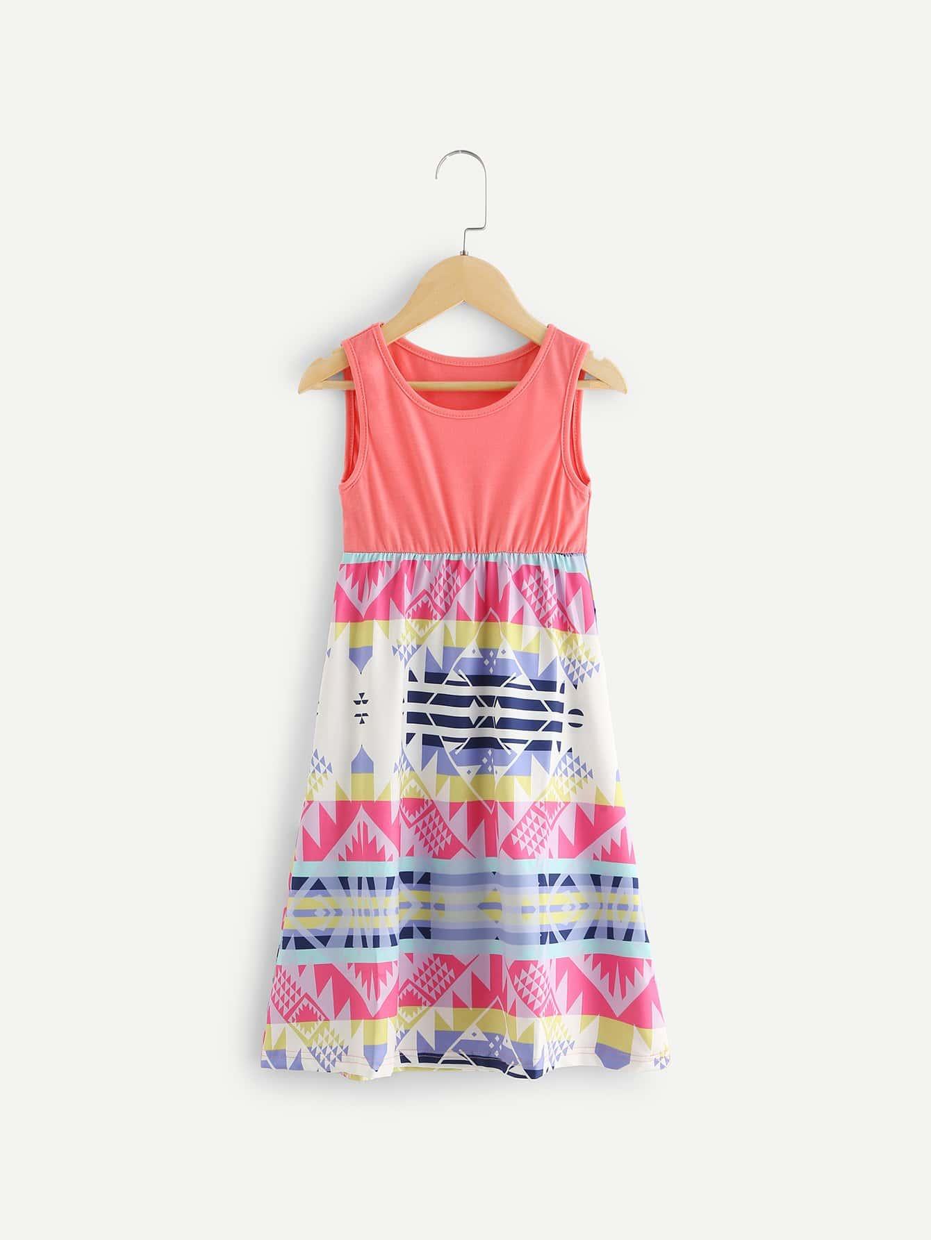 Kids Contrast Striped Geo Print Dress contrast lace striped star print dress