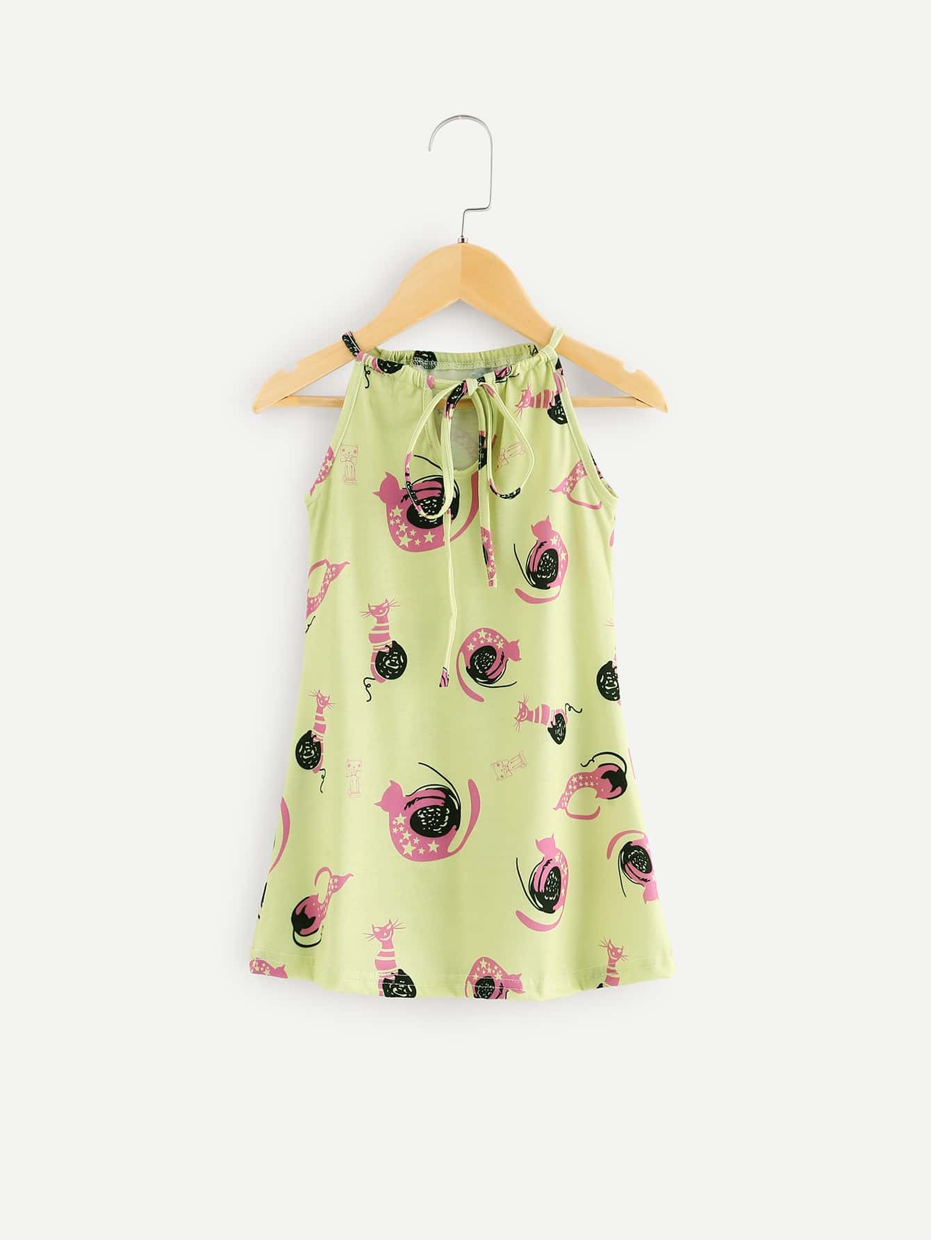 Girls Knot Back Printed Halter Dress mixed print colorblock knot back halter dress