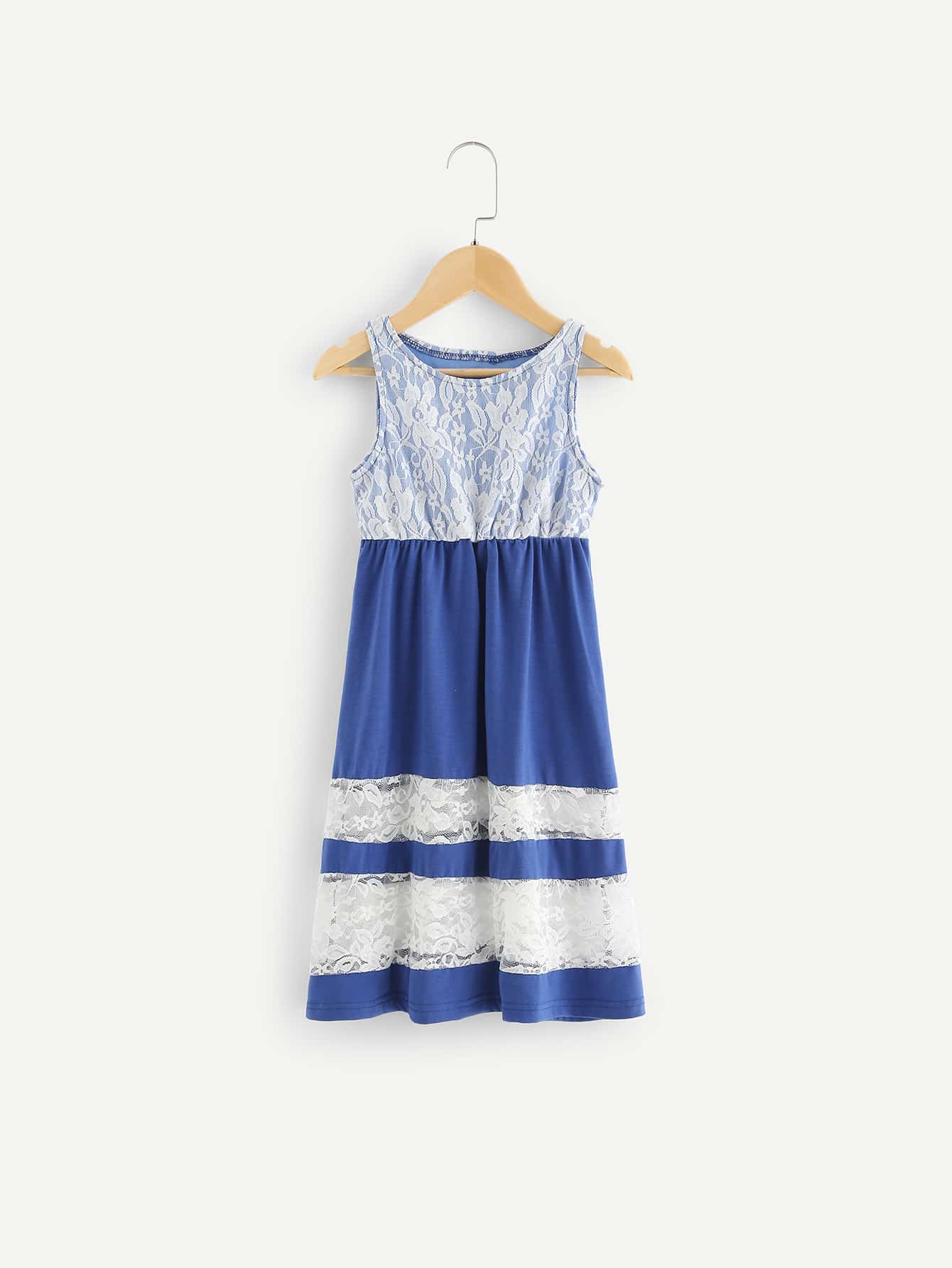 Girls Contrast Lace Dress кейс fortuna forward 1pc черный w11801 3