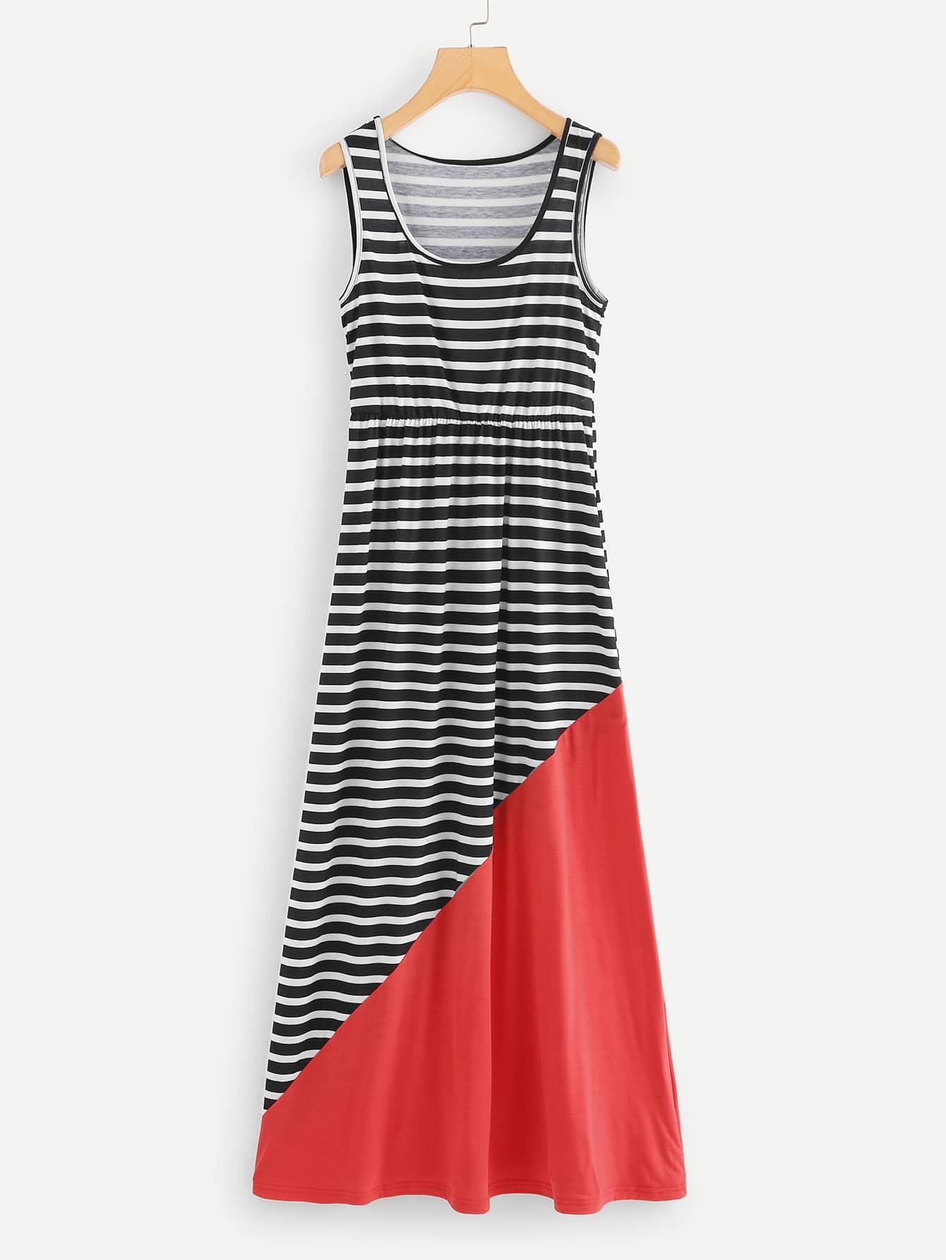 Contrast Panel Striped Dress kids contrast panel sleeveless dress