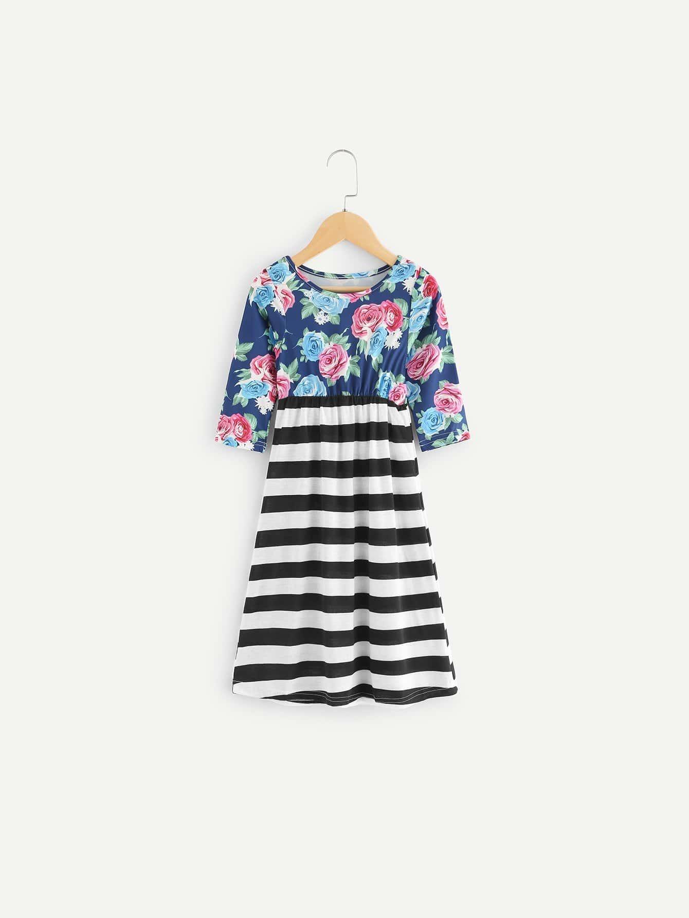 Kids Contrast Striped Floral Print Dress contrast lace striped star print dress