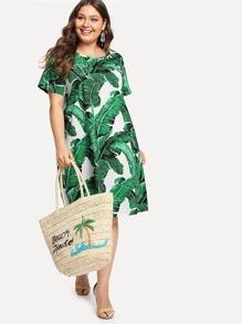 Scoop Neck Tropic Print Dress