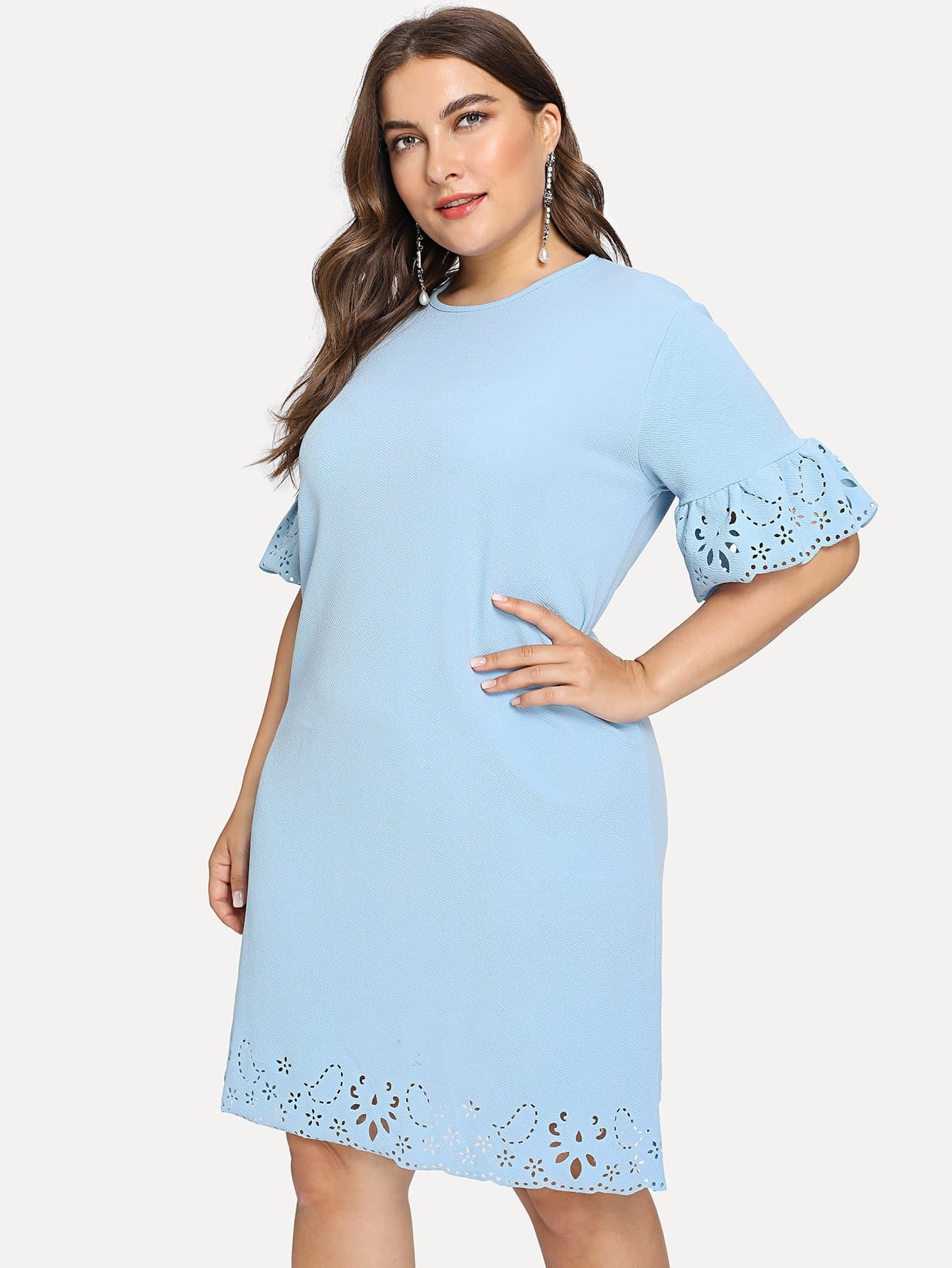 Plus Laser Cut Fluted Sleeve Dress bow detail fluted sleeve laser cut scalloped blouse