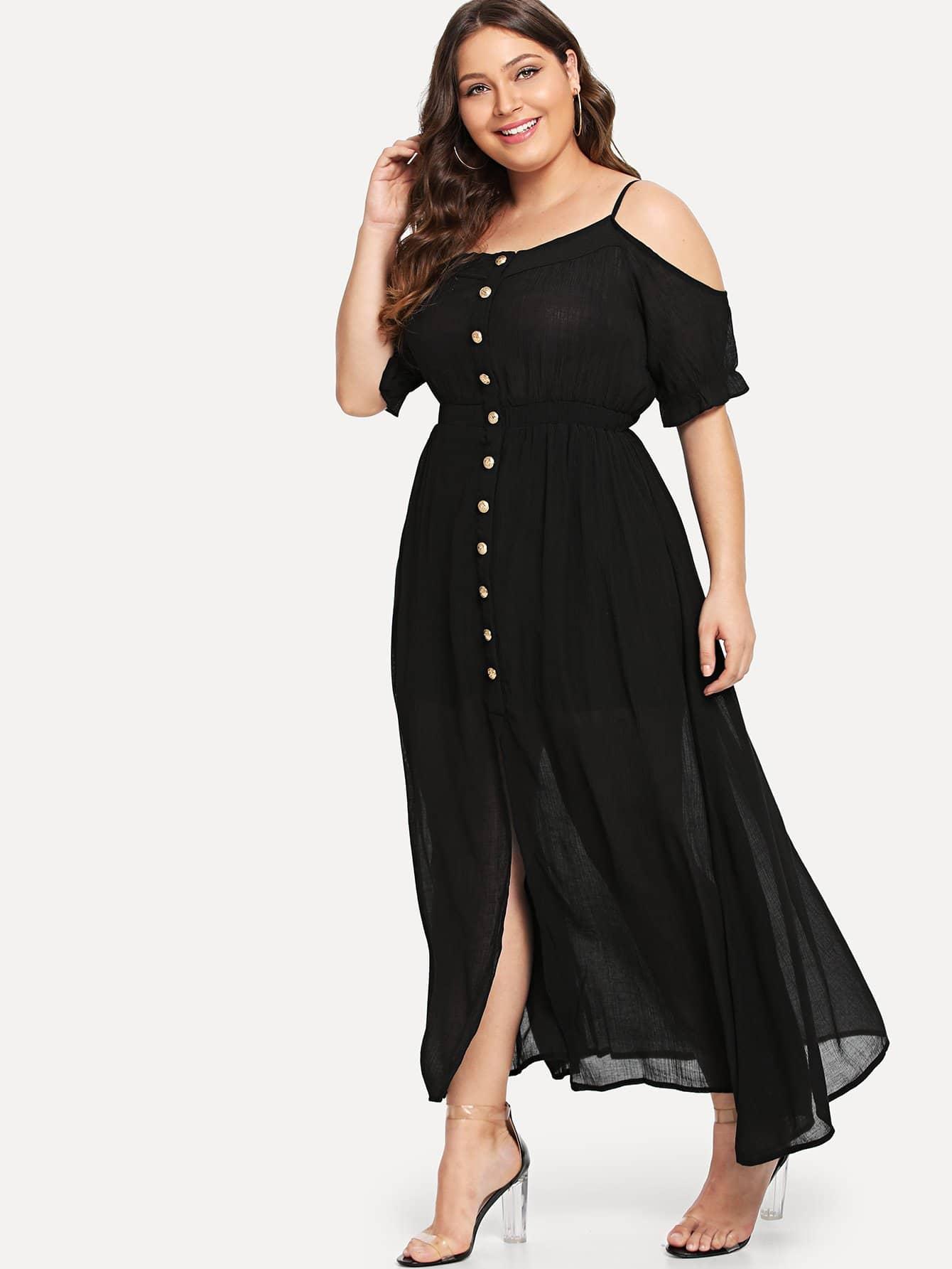 Купить Платье с пуговицами и открытыми плечами, Carol, SheIn