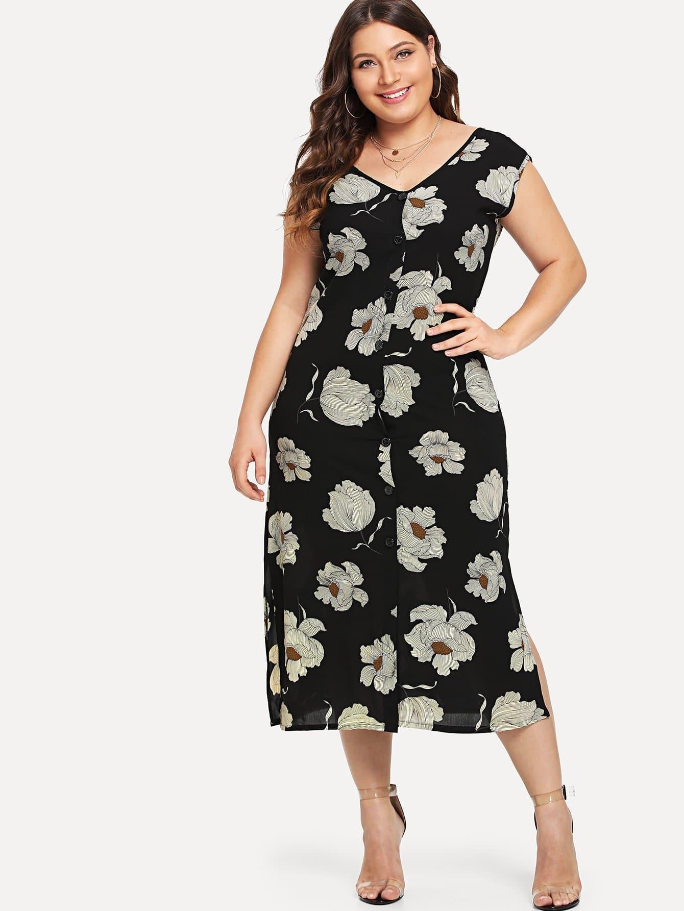 Купить Платье в цветочек с v-образным воротником, Carol, SheIn