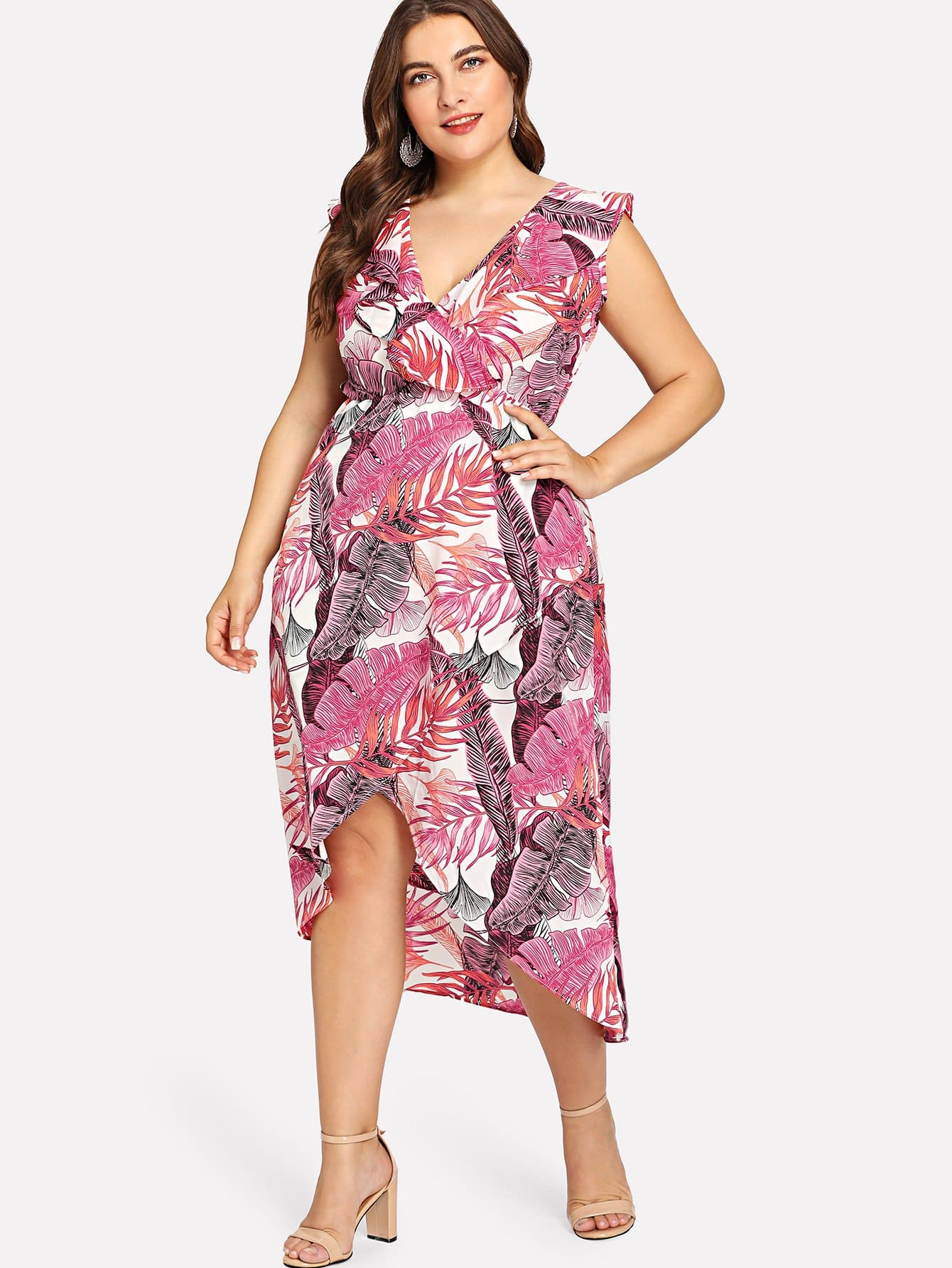 Plus V Neckline Ruffle Trim Dip Hem Dress wrap front tied v back ruffle hem dress