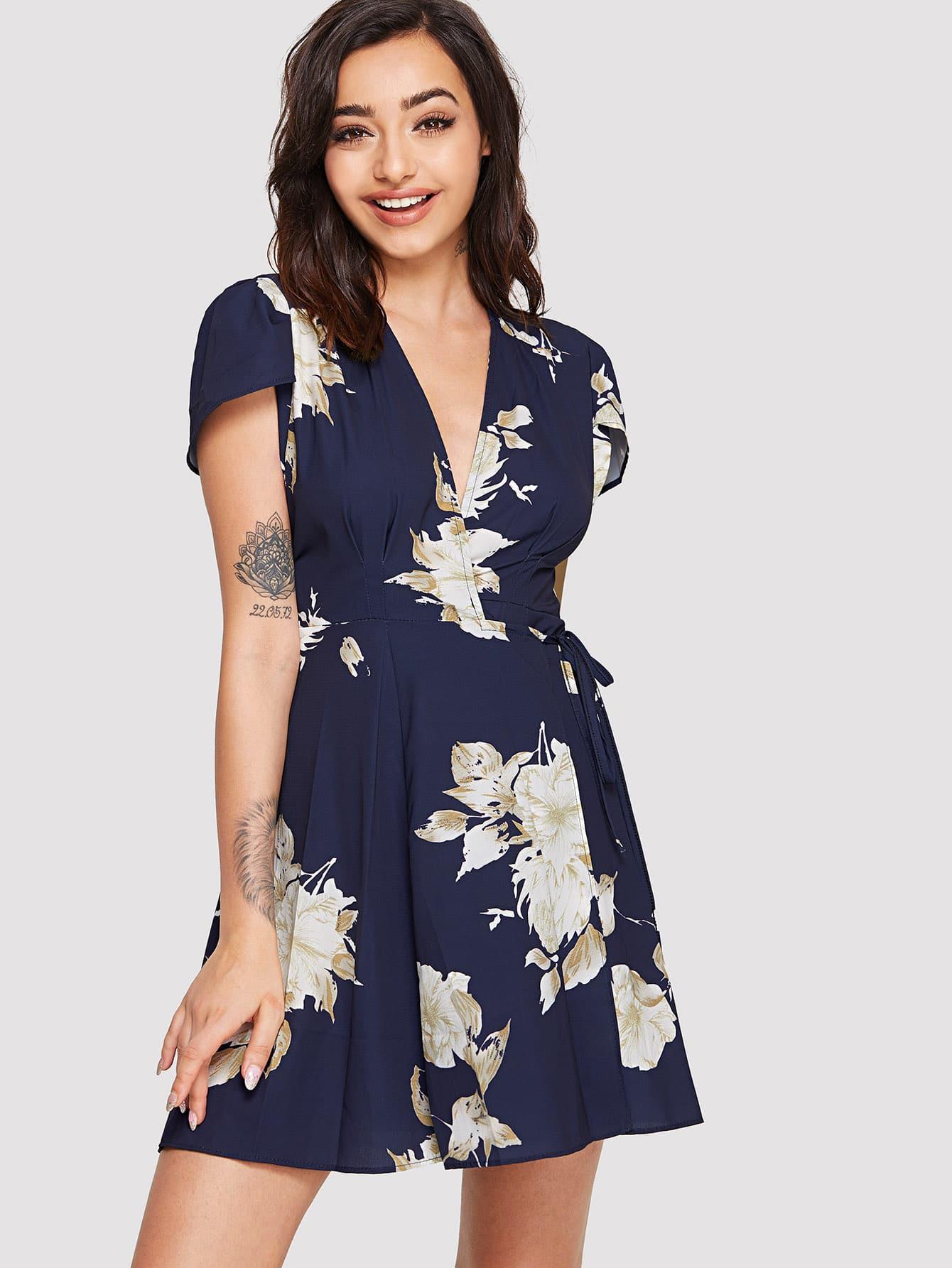 Knot Side Floral Print Dress guitar print knot side dress