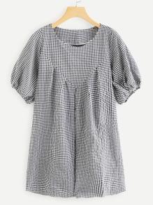 Round Neck Checked Dress
