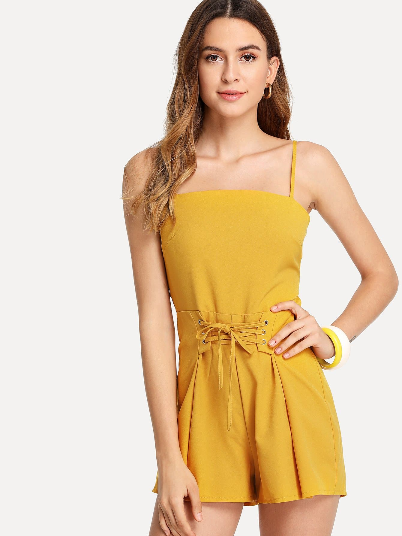 Lace Up Front Cami Romper lace up front fit