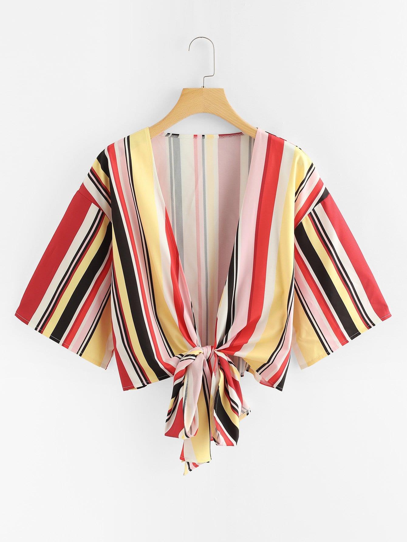 Knot Hem Striped Kimono knot hem star print kimono