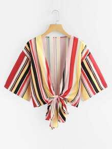 Knot Hem Striped Kimono