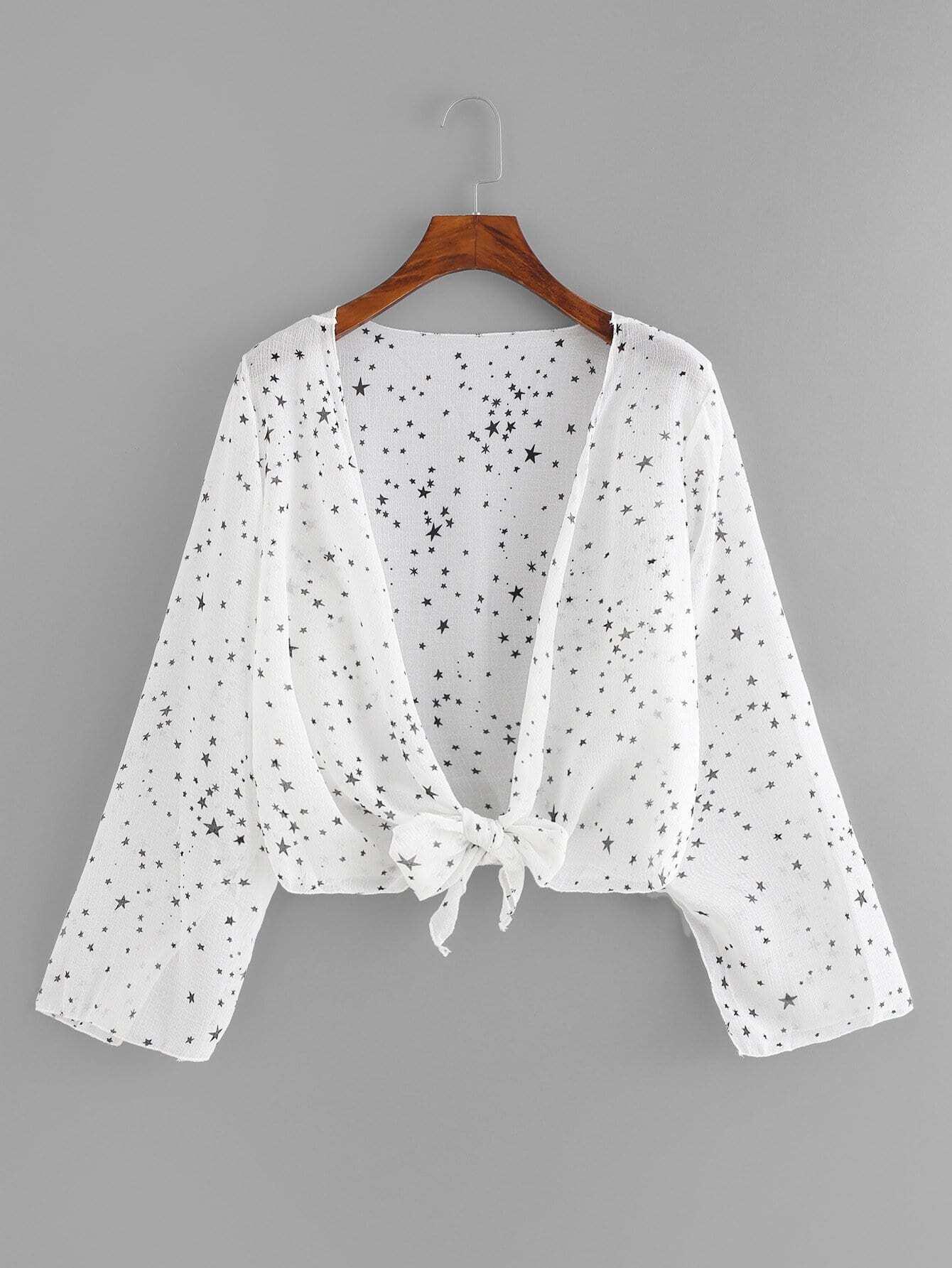 Knot Hem Star Print Kimono knot hem star print kimono