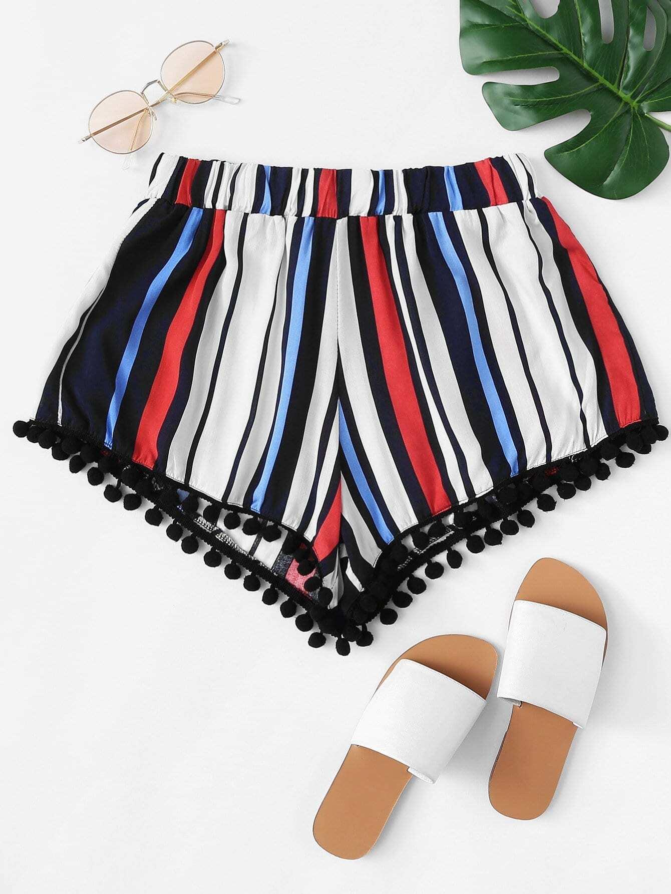 Pom-pom Trim Striped Shorts pom pom trim striped shorts