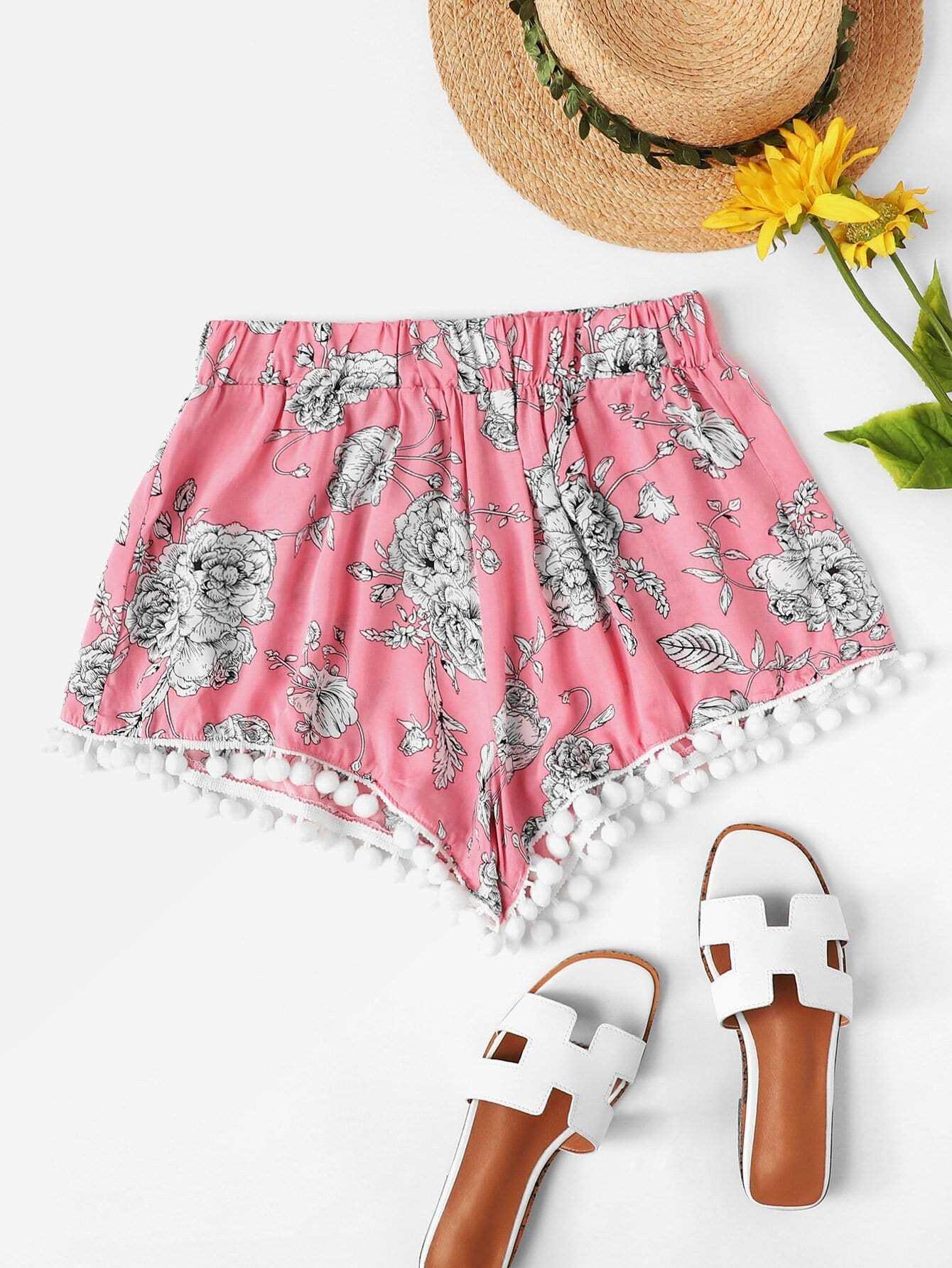 Pom-pom Trim Floral Shorts pom pom trim striped shorts