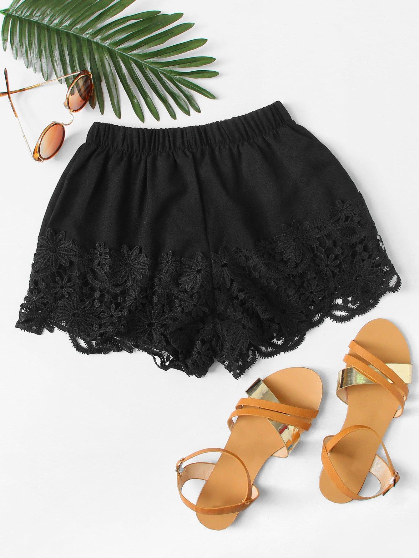Lace Hem Elastic Waist Shorts lace hem shorts