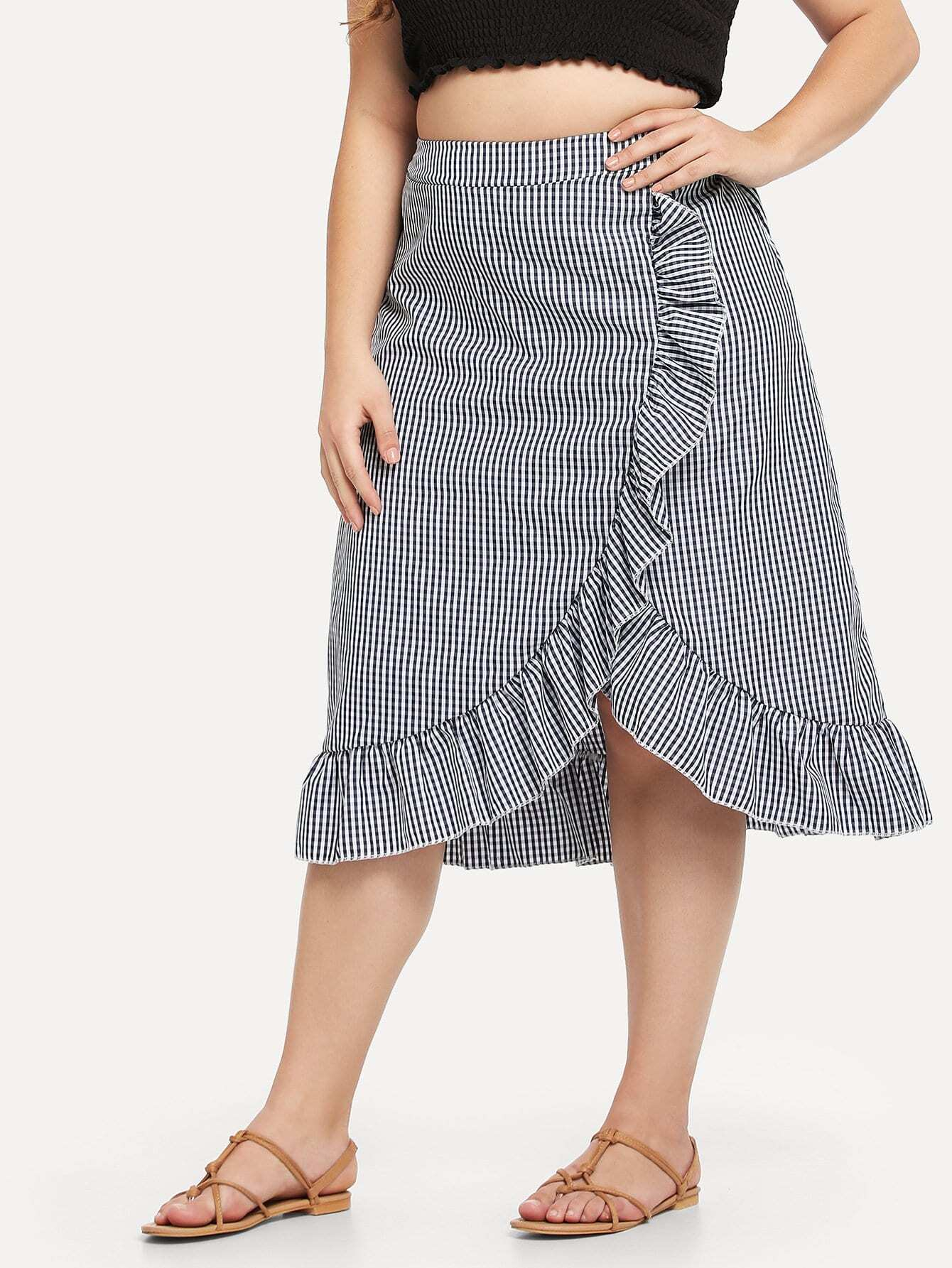Plus Ruffle Trim Checked Skirt