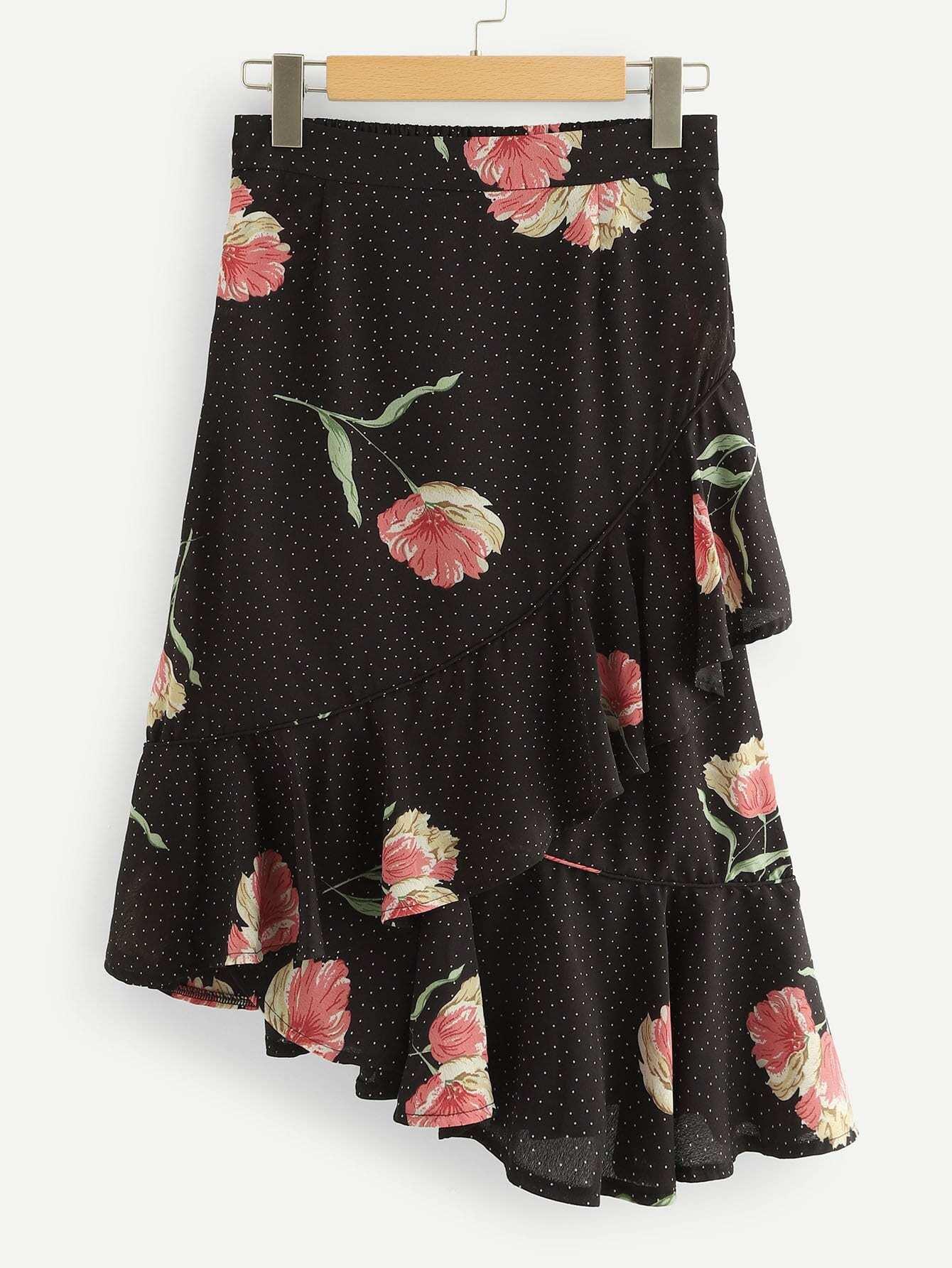Floral Print Ruffle Trim Asymmetrical Hem Skirt asymmetrical ruffle trim floral skirt